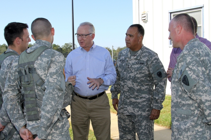 Chairman McKeon visits with General Crutchfield and soldiers at Fort Rucker